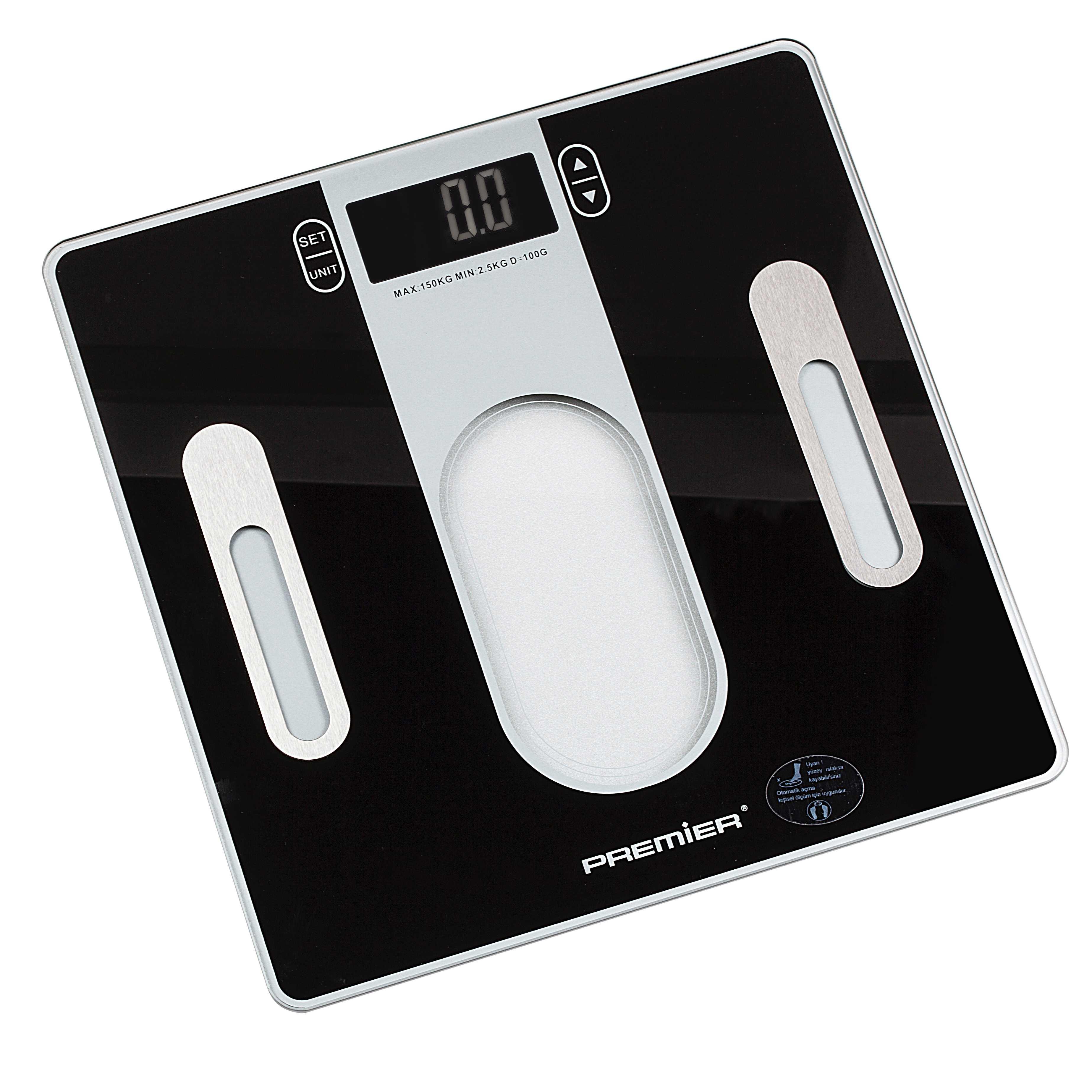 PWS 725 150KG Digital Cam Vücut Analiz Baskülü Siyah